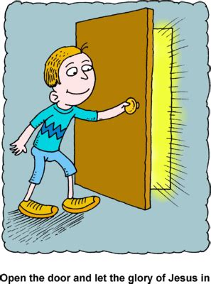 open clipart image boy opening door with glorious rays pouring through