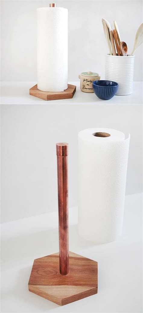 diy paper towel dispenser 15 diy copper shine in the kitchen home design and interior