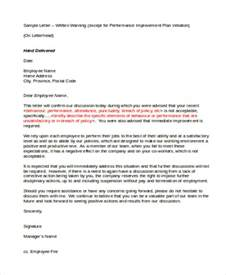 performance letter template 7 performance warning letter template 7 free word pdf