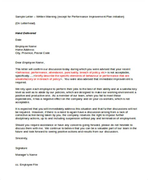7 performance warning letter template 7 free word pdf