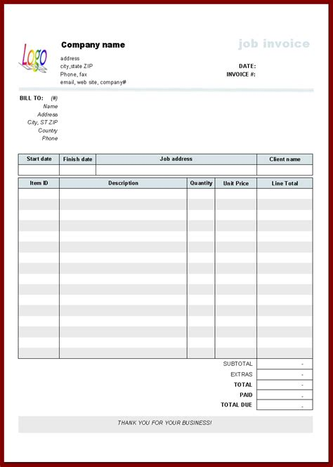 Templates For Invoices Free Excel by Invoice Template Excel Free Hardhost Info