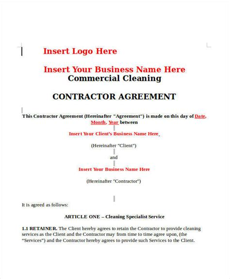 cleaning contract templates docs word pages