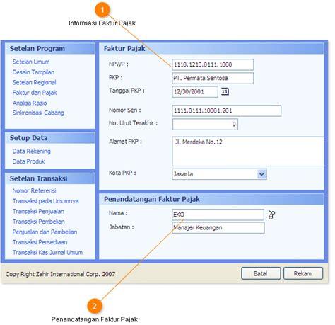 membuat faktur pajak otomatis setup konfigurasi program zahir faktur dan pajak pt