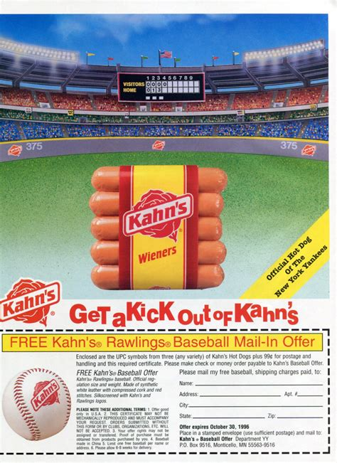 kahn s dogs kahn s dogs official of new york yankees baseball team 1996 magazine ad advert