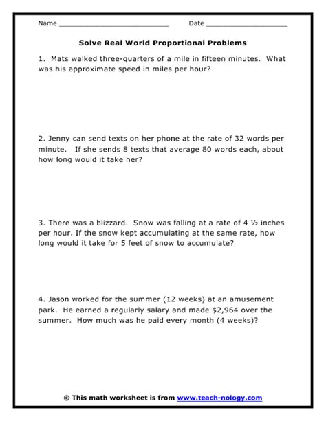 7th Grade Math Word Problems Worksheets by Proportional Word Problems