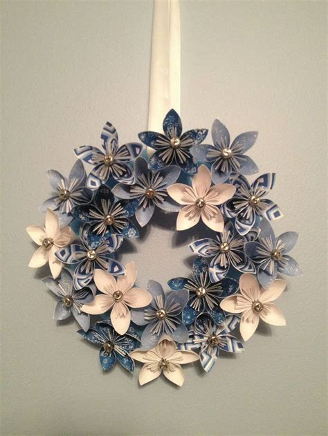 Origami Paper Wreath - origami paper flower wreath wedding decorations origami