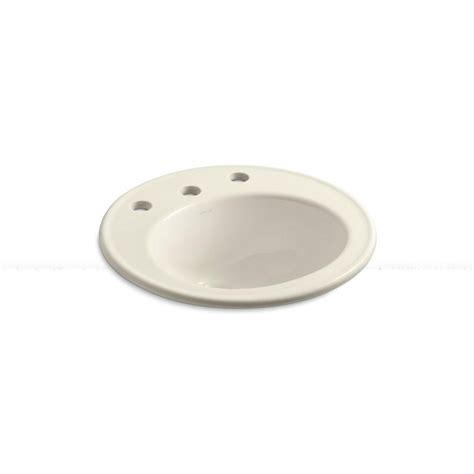 almond bathroom sink kohler archer drop in vitreous china bathroom sink in