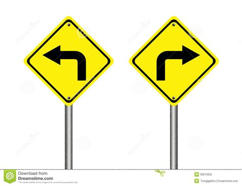 st on left or right turn left and right traffic sign stock illustration image 30613322