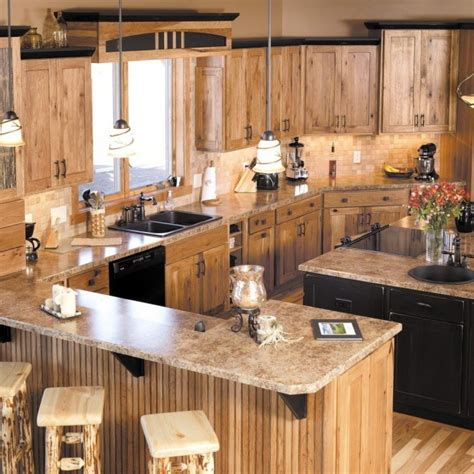 Lighting Above Kitchen Cabinets Rustic Hickory Cabinets Home Sophisticated And Urbane