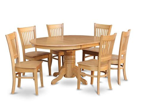 Kitchen Dining Table Set 7 Pc Oval Dinette Kitchen Dining Room Set Table W 6 Wood Seat Chairs Light Oak Ebay