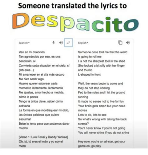 despacito meaning in english 25 best memes about lyrics lyrics memes