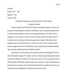 Exles Of Essays In Mla Format by Mla Essay Format Sle Tcc D Reiss Atndpart Htm