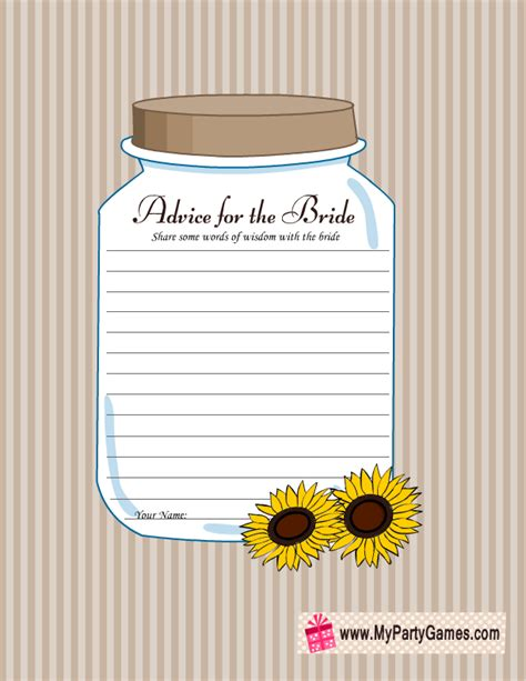 advice for the bride free printable cards