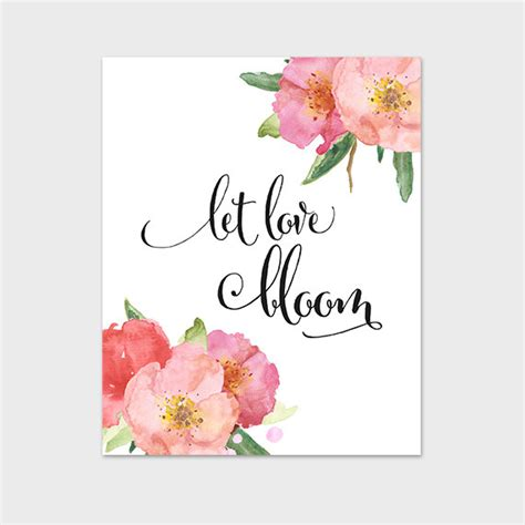 flower design quotes let love bloom watercolor floral quote by