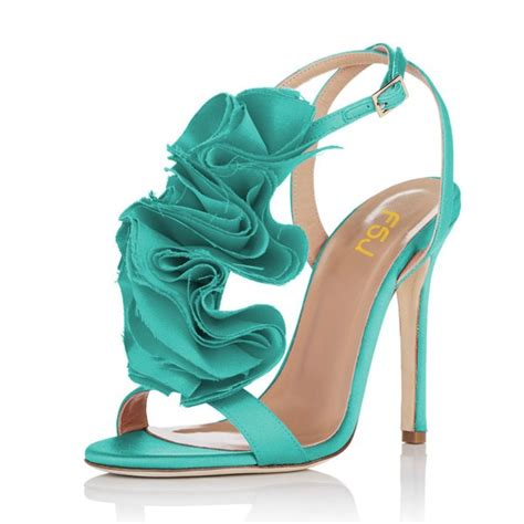turquoise flower shoes turquoise heels satin stiletto heel flower evening shoes