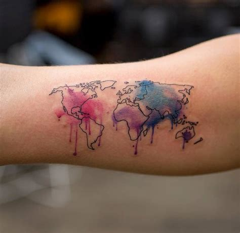 watercolor travel tattoos 35 best world map ideas for travel page 3