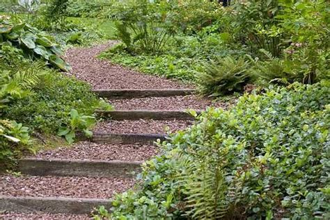 wooden outdoor stairs and landscaping steps on slope natural landscaping ideas gardens