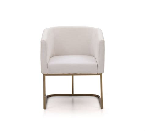 White Fabric Chair by Modrest Yukon Modern White Fabric And Antique Brass Dining