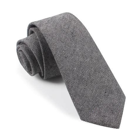 black white twill stripe linen tie slim thin