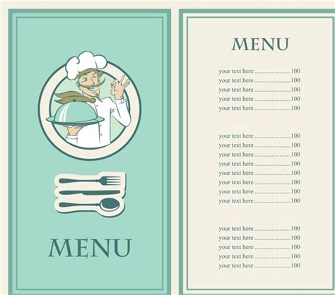 make your own menu template 5 restaurant menu in vectorial format