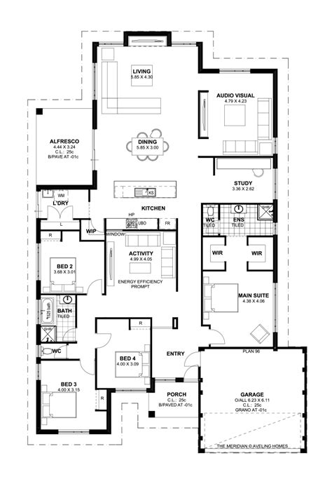 villa floor plans australia floor plan friday 4 bedroom theatre activity and study