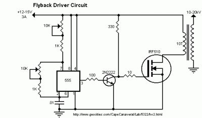 transistor flyback driver circuit efficient flyback driver by ic 555 irf510 circuit diagram world