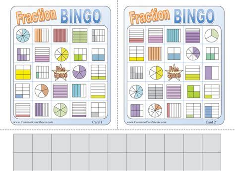 Fraction Bingo Printable math bingo worksheets printable free bingo card template