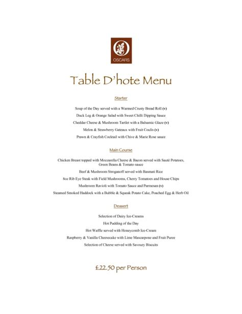 Table Menu Restaurant Table D Hote 4 Restaurant Menu Formats