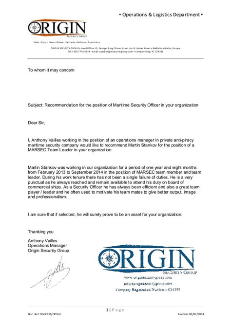 Reference Letter Operations Manager osg reference letter ops manager