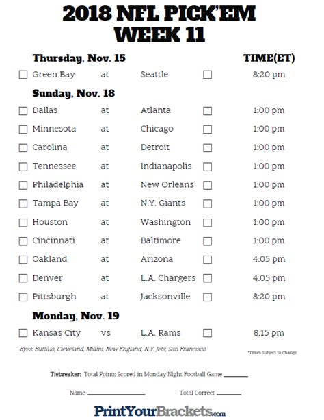 printable nfl schedule pick em nfl weekly pick em sheet 2017 printable team schedules