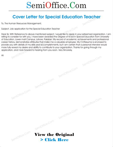 cover letter for special education position cover letter for special education