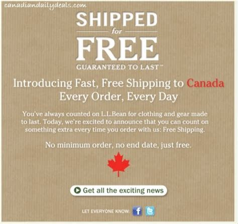 Free Shipping On Every Order 75 by Canadian Daily Deals L L Bean Free Shipping To Canada