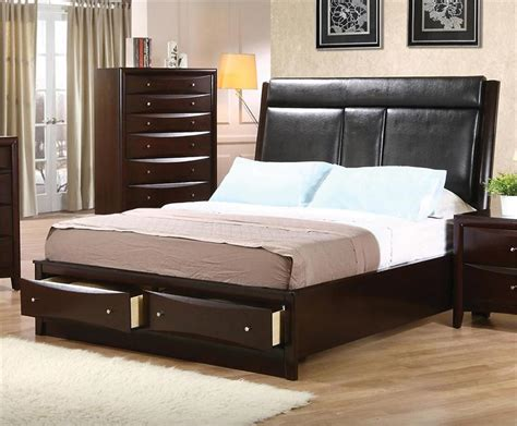 Leather Headboard Bedroom Set by Leather Headboard Storage Bedroom Set Pheonix Collection
