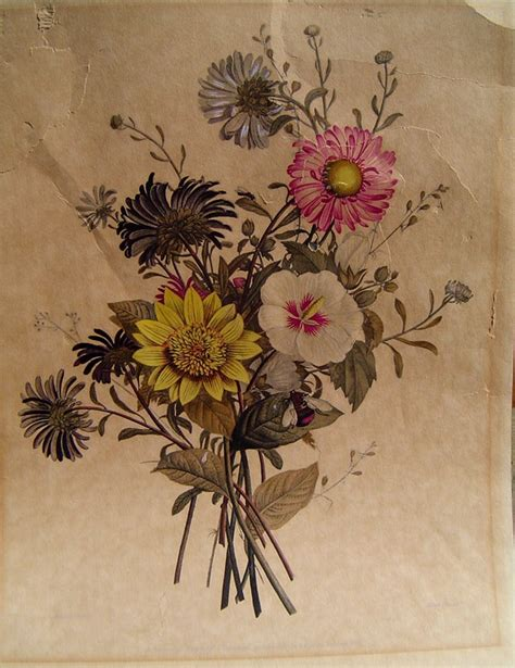 flower tattoo etsy vintage botanical art artist embellished original