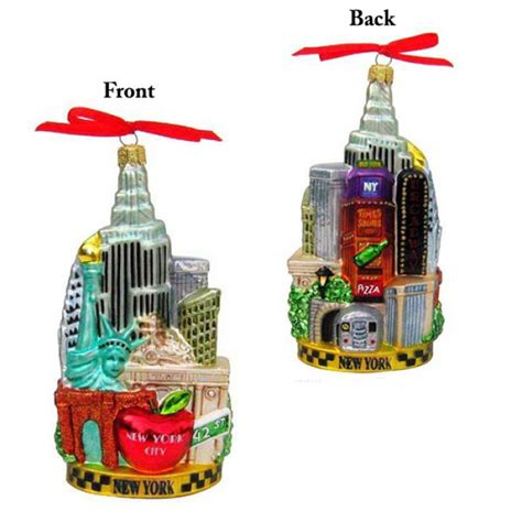 new york city scape glass ornament christmas and city