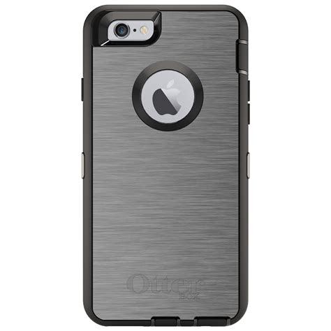 custom otterbox defender for iphone 6 6s 7 plus grey silver stainless steel prnt ebay