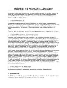 arbitration template mediation and arbitration agreement template sle