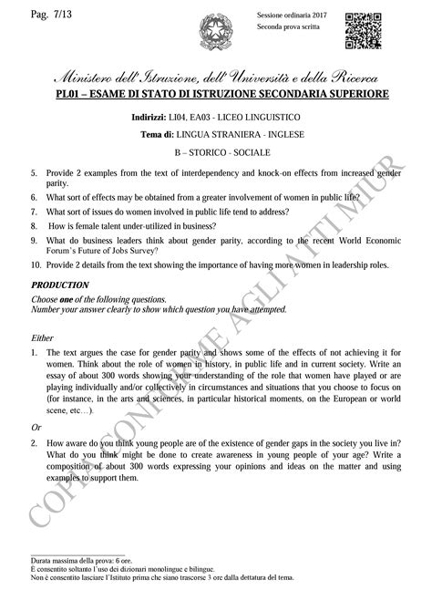 test d ingresso liceo linguistico traccia inglese seconda prova liceo linguistico 2017