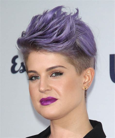 how to get osbournes haircolor kelly osbourne short straight formal hairstyle purple