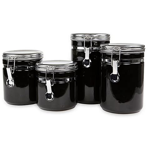 black kitchen canister sets buy 4 piece ceramic canister set with stainless steel tops