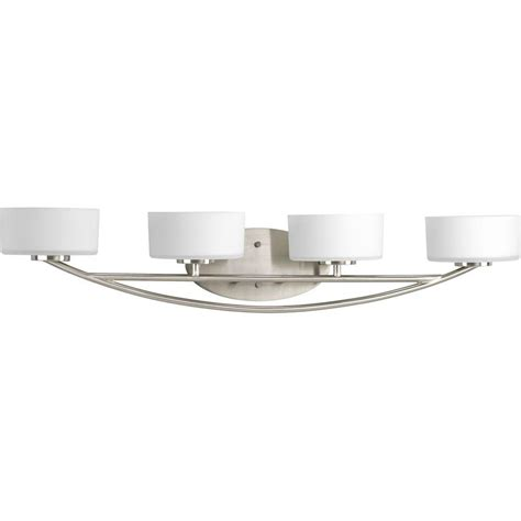 vanity lighting bathroom lighting the home depot bathroom cabinets with lights progress lighting calven collection 4 light brushed nickel bath light p3236 09wb the home depot
