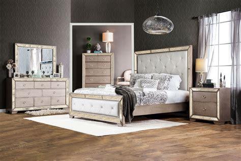 loraine silver upholstered panel bedroom set cmq furniture  america