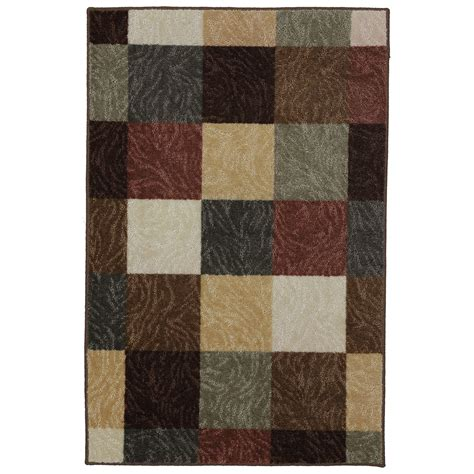 mohawk accent rugs shop mohawk home mansfield rectangular brown block tufted