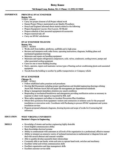 hvac project engineer resume format hvac engineer resume sles velvet