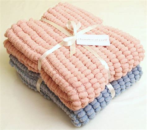 Handmade Knitted - handmade knitted pom pom baby blanket by thoughts of you
