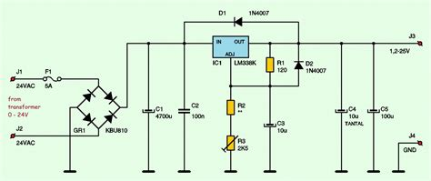 integrated circuit security techniques using variable supply voltage variable adjustable dc power supply 1 2v 25v using lm338k schematic design