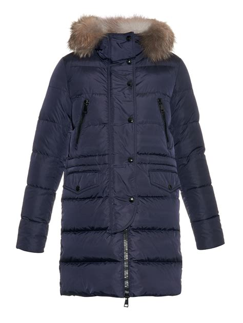 Quilted Coat With Fur by Moncler Fragonette Quilted Fur Trim Coat In Blue Lyst