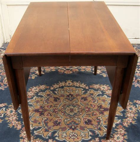 Drop Leaf Dining Room Table Willett Cherry Drop Leaf Dining Room Table W Six Upholstered Chairs Mid Century Ebay