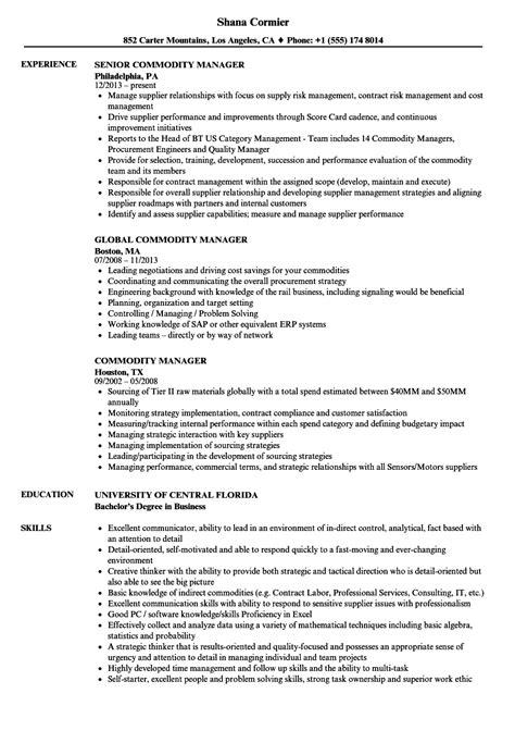 commodity manager sle resume 28 images resume sle