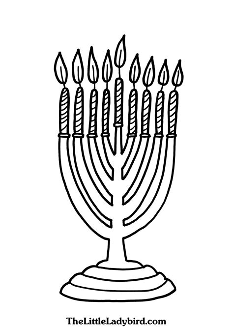 coloring page menorah candle free hanukkah coloring pages thelittleladybird com